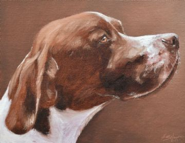 John Silver Original Oil Painting Portrait Of A Pointer Dog